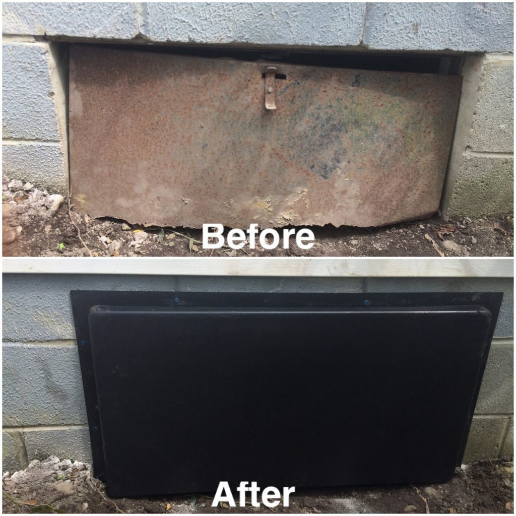 crawlspace access door before and after